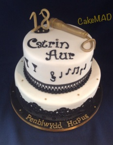 18th Birthday Cake Black White And Gold With Musical Theme